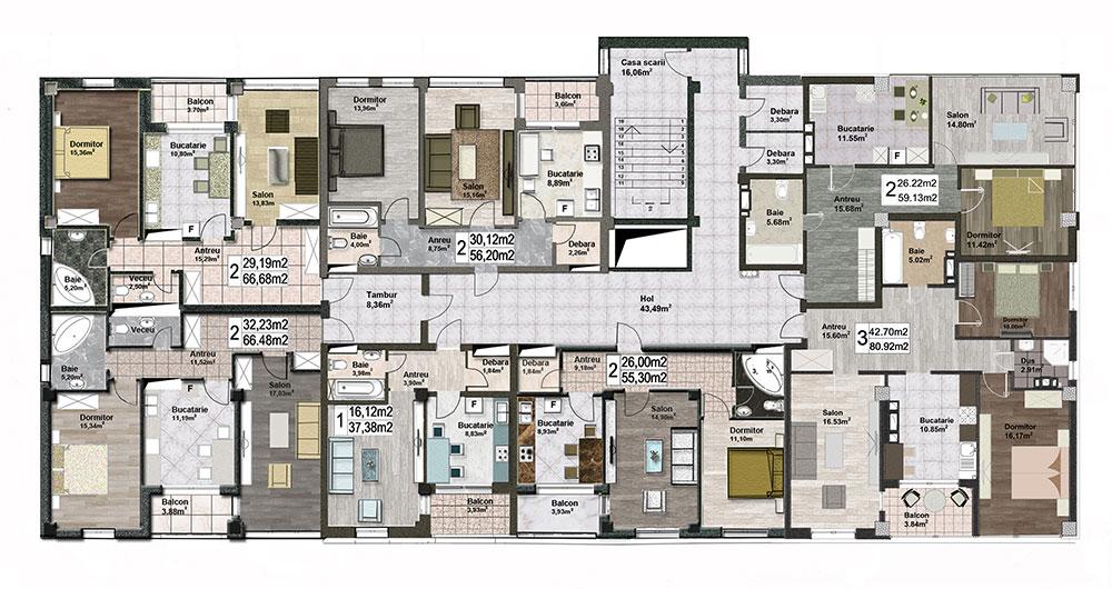 Plan etaj Gheorghe Ghimpu