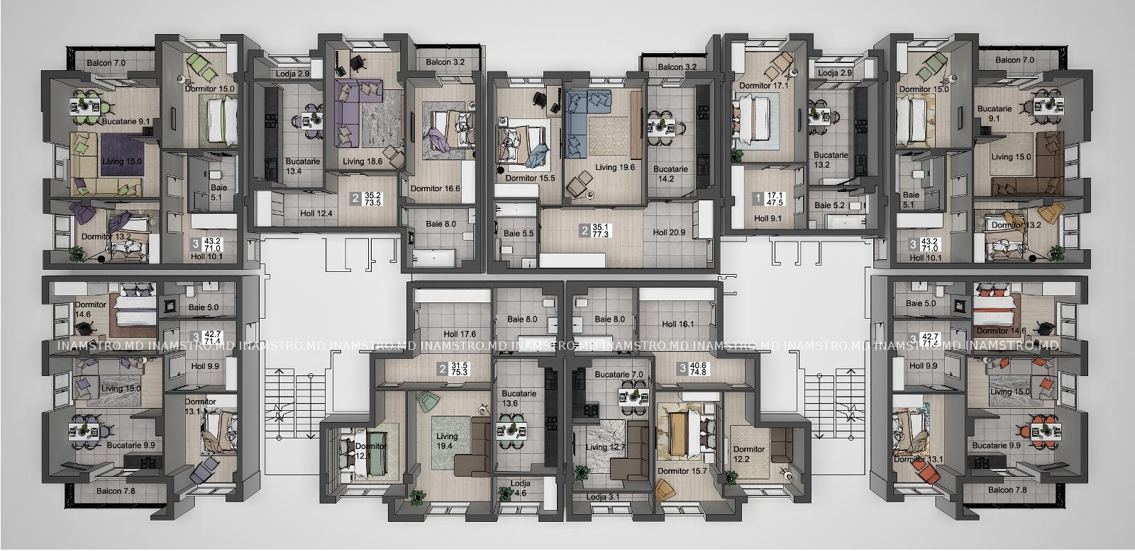 Plan etaj cu 2 scari Deleanu
